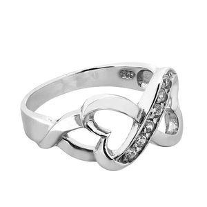 .925 Solid Sterling Silver CZs Infinity Heart Ring